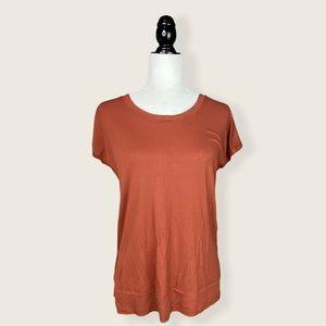 NWT Jackson Rowe Short Sleeve Ribbed Rust T-Shirt